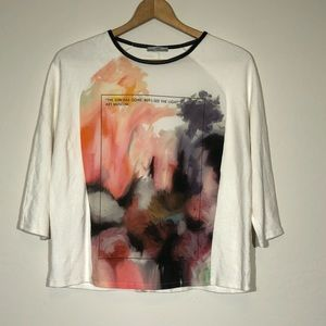 Zara Shirt Size Large Art Museum Colab 3/4 Sleeve